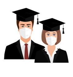 Cute university graduates in bonnets and medical vector