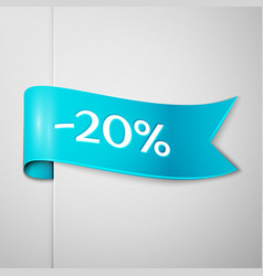 Cyan ribbon with text twenty percent for discount vector