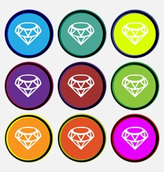 Diamond Icon sign Nine multi colored round buttons vector