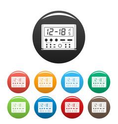 digital clock icons set color vector image