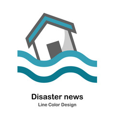 Disaster news flat icon vector
