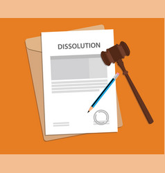 dissolution text on stamped paperwork vector image