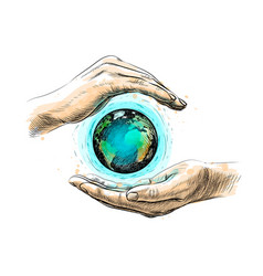 earth between hands representing environment vector image
