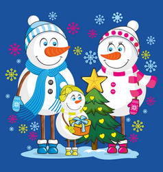 Family snowmen vector