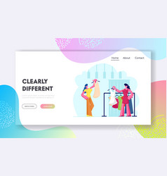 Female character shopping website landing page vector