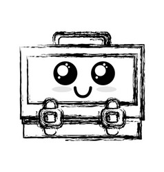 Figure kawaii cute happy suitcase design vector