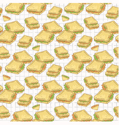filled bread slices seamless pattern hand vector image