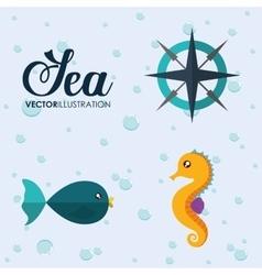 Fish and sea horse icon Sea animal cartoon vector