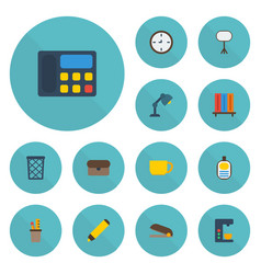 Flat icons puncher espresso machine tea and vector