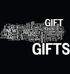 Gift ideas for your nearest and dearest one text vector