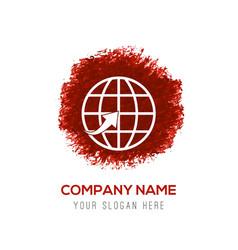 globe icon - red watercolor circle splash vector image