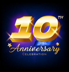 gold 10 anniversary celebration number logo vector image