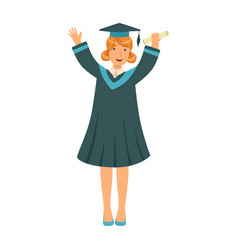 graduating student girl in an academic gown vector image