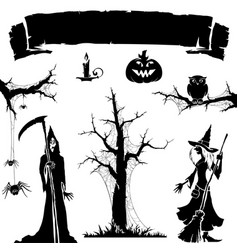 halloween icon silhouette of monster vector image
