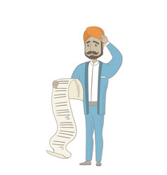 hindu accountant holding a long bill vector image