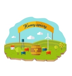 Honey Apiary Conceptual in Flat Style vector