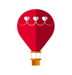 Hot air balloon with a hearts vector