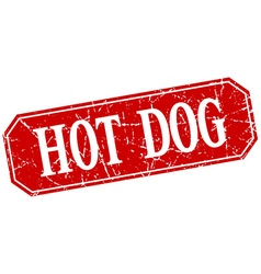 Hot dog red square vintage grunge isolated sign vector