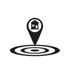 house location icon drop shadow map pointer vector image