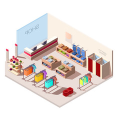 isometric interior fashion store vector image