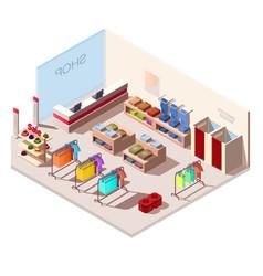 Isometric interior fashion store vector