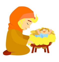 jesus birth icon cartoon style vector image