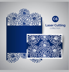 Laser cut wedding invitation envelope for cutting vector