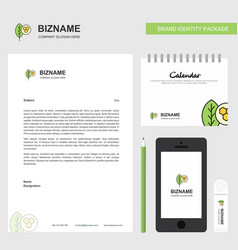 leaf business letterhead calendar 2019 and mobile vector image