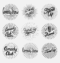 Lettering stand up set calligraphic text comedy vector