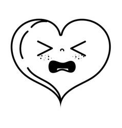 Line gaudy heart love kawaii cartoon vector