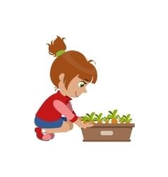 Little Girl Growing Carrots vector image