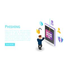 Login password phishing banner isometric style vector