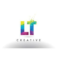 Lt l t colorful letter origami triangles design vector