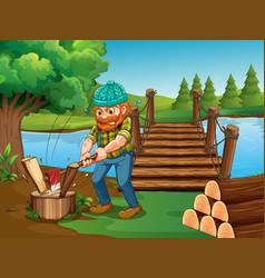 Man chopping woods river vector