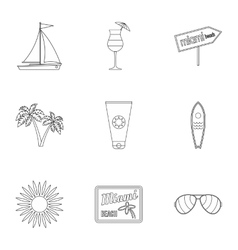 Miami icons set outline style vector