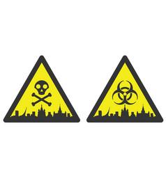 moscow danger emergency biological hazard signs vector image