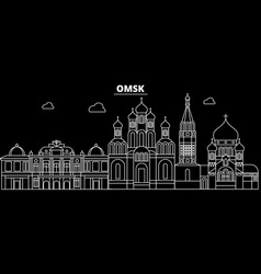 omsk silhouette skyline russia - omsk city vector image