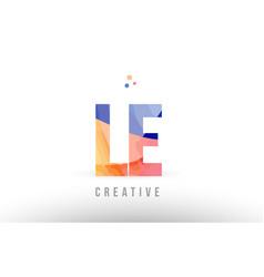 Orange blue alphabet letter le l e logo icon vector