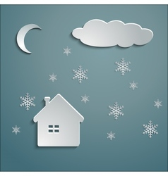 paper house winter vector image