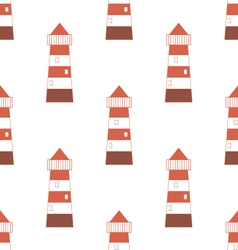 Pattern with red-white lighthouse vector image