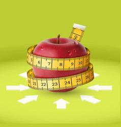 Red apple yellow measuring tape arrow diet vector