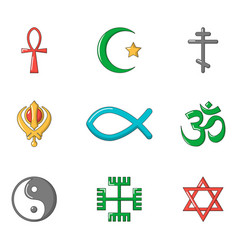 religious sign icon set cartoon style vector image