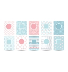 Romantic card templates with pink patterns vector image