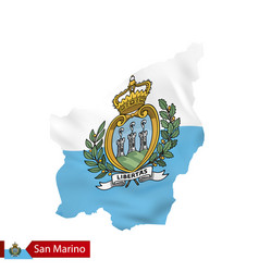 San marino map with waving flag san marino vector