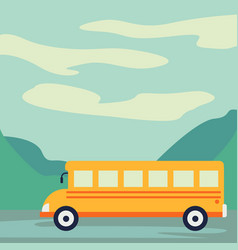 school bus paper art style driving on the road vector image