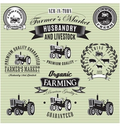 set of labels with a tractor for livestock and cro vector image