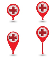 Set Of Map Pin Icon With Red Cross Sign Hospital vector