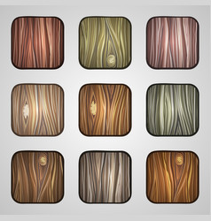 Set of wooden icons template wood buttons vector