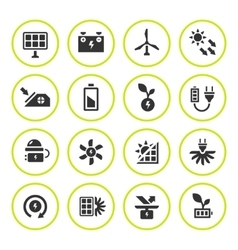 Set round icons of alternative energy sources vector image