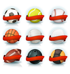 set sports balls with red banners vector image